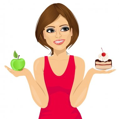 attractive woman choosing between green apple or sweet piece of cake