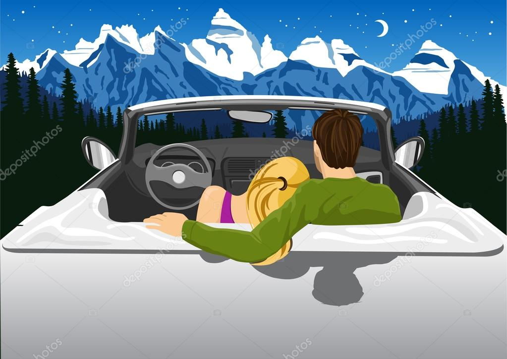 couple sitting in white convertible car hugging and looking at the mountains under the night sky