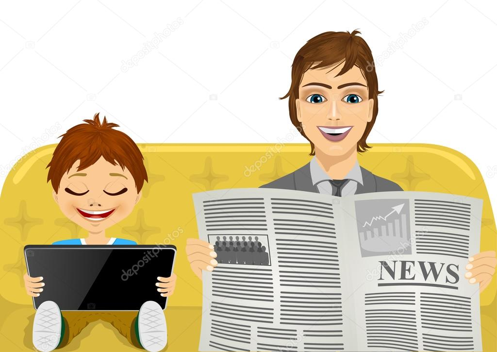 father reading the latest news and his son playing games on tablet