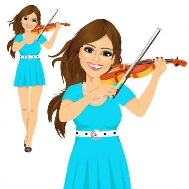 Beautiful young woman playing violin walking forward over white background stock vector