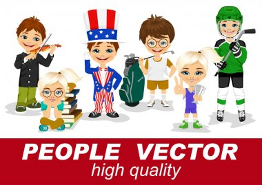 people vector with childrens characters