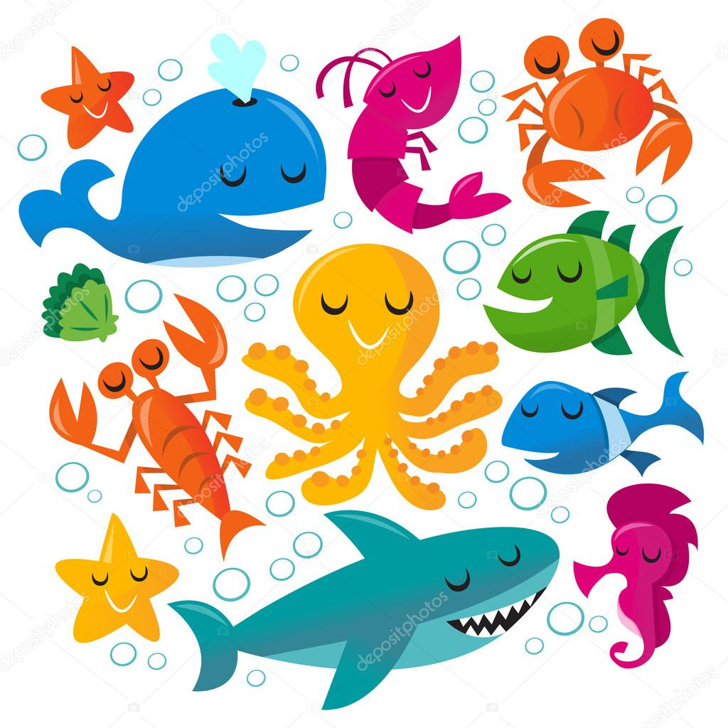 Happy Fun Cartoon Sea Creatures Set