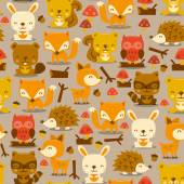 Fotografia Super carino creature del bosco Seamless Pattern Background