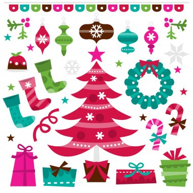 Retro Holly Jolly Christmas Design Elements Set