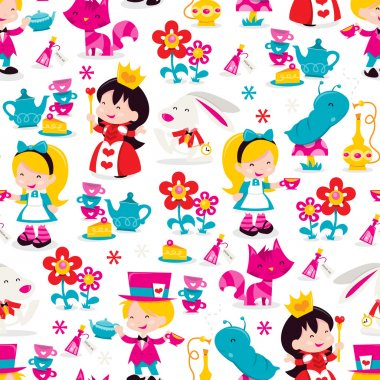 Whimsical Retro Alice In Wonderland Seamless Pattern Background