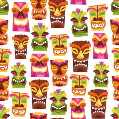 Retro Hawaiian Luau Party Tiki Seamless Pattern Background