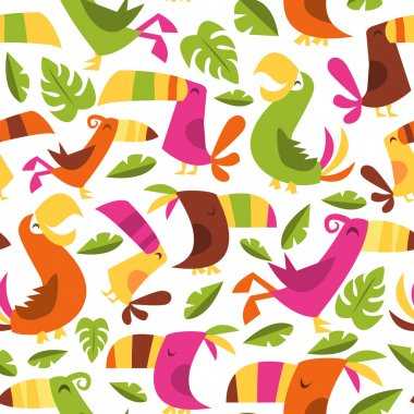 Retro Hawaiian Luau Tropical Birds Seamless Pattern Background