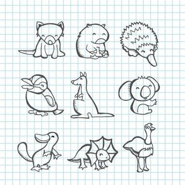 Australian Animals Doodle Line Art