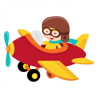 A cartoon vector illustration of a happy pilot kid or boy flying a plane. stock vector