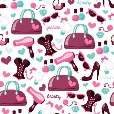 Girly Fashion Beauty Seamless Pattern Background