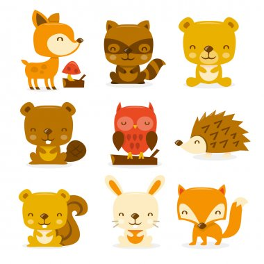 A cartoon vector illustration set of super cute woodland creatures and critters. Included in this set:- deer, raccoon, bear, beaver, owl, porcupine, squirrel, rabbit and fox. stock vector