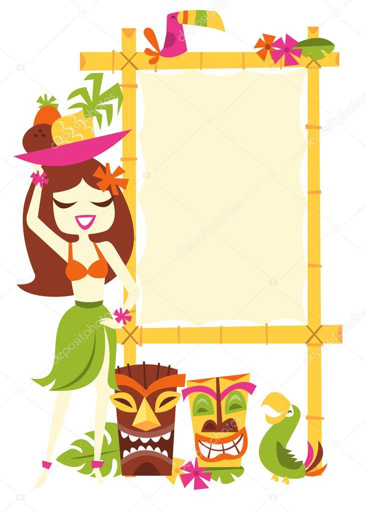 Retro hawaiian luau party sign stock vector totallyjamie 71194833 a vector illustration of 1960s retro inspired cute hawaiian luau party blank bamboo sign with a happy hawaiian girl in grass skirt holding a bowl of fruits stopboris Gallery