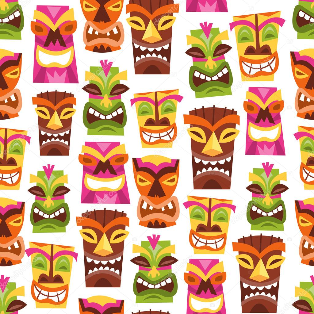 Retro Hawaiian Luau Party Tiki Seamless Pattern Background ...
