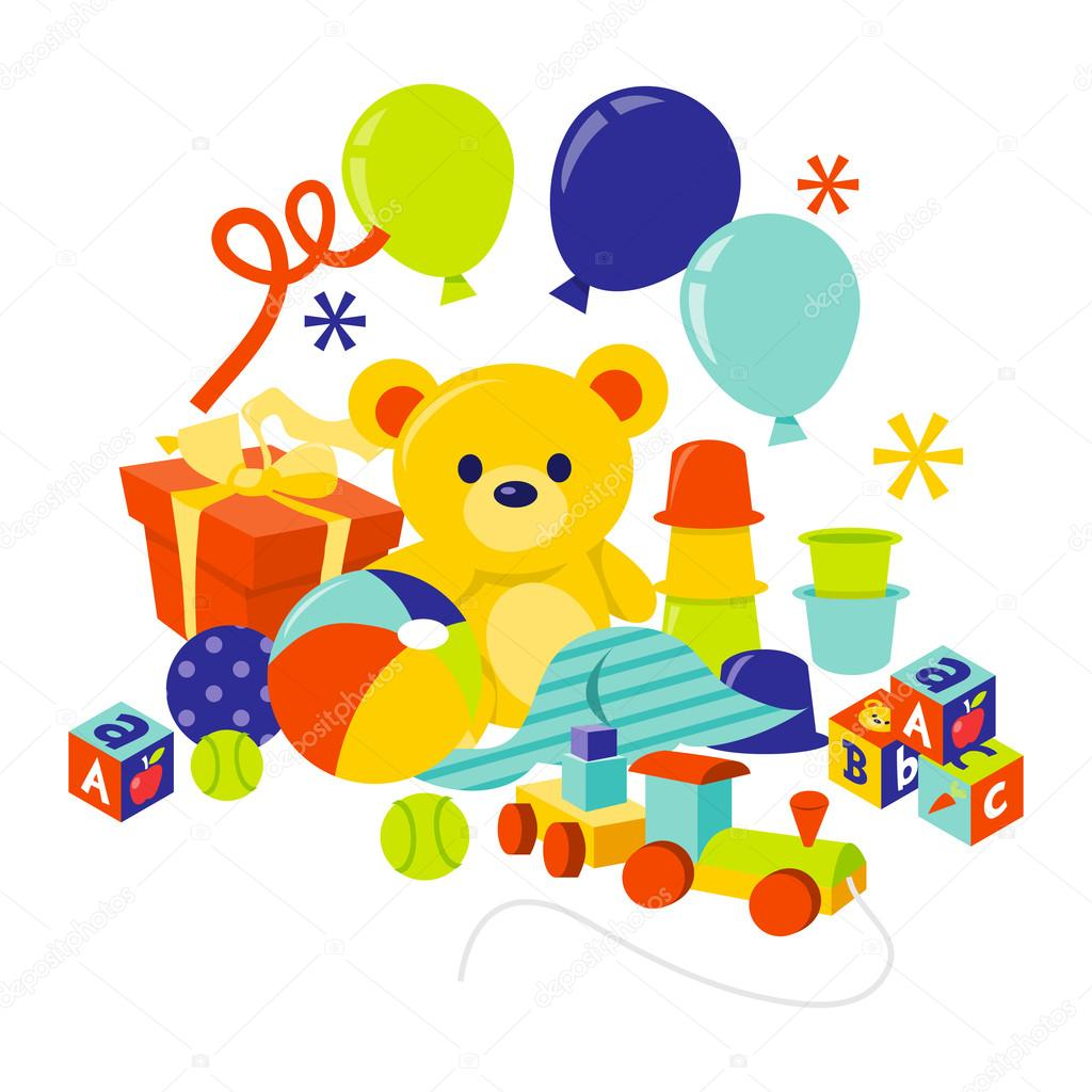 Baby Gears And Toys Gift Hamper — Stock Vector © totallyjamie #71197551