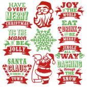 Vintage Paper Cut Christmas Word Art Set
