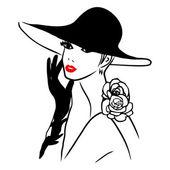 Vektorové Ink Line Art Lady černý klobouk