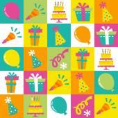 Retro Birthday Extravaganza Tiles Pattern Background