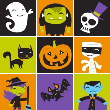 Jolly Halloween Monsters Tile
