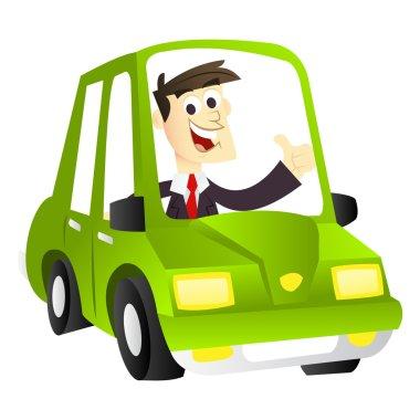 Cartoon Eco Driving Business Man