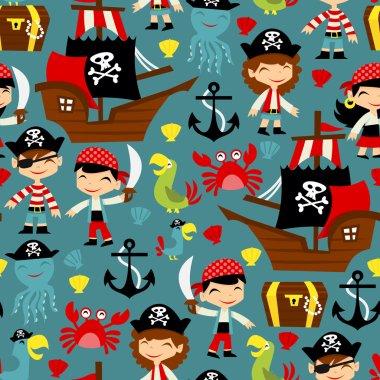 Retro Pirate Adventure Seamless Pattern Background