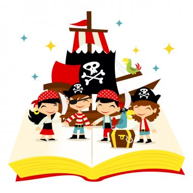 Retro Pirate Adventure Story Book