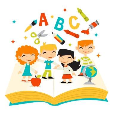 Retro Kids Happy Learning School Book