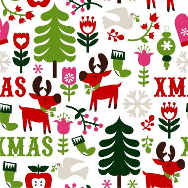 This 'Nordic Christmas Seamless Pattern Background' is a vector illustration novelty print that can be tiled seamlessly. It is inspired by scandinavian or nordic retro design and it's both fun and whimsical in green, pink and red colour scheme. stock vector