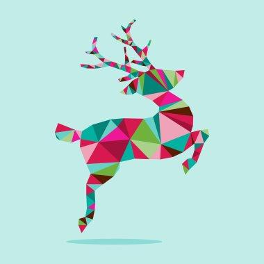 Modern Geometric Triangle Christmas Jumping Reindeer