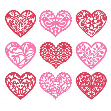 Lace Fretwork Hearts Set