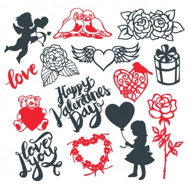 Valentine's Day Silhouette Design Elements Set
