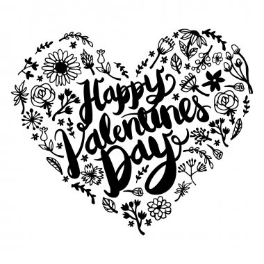 A vector illustration hand drawn botanical foliage filled heart with happy valentine's day phrase in the middle.  The marker pen hand drawn foliages are arranged in a haphazard to make the heart shape.. The illustration is set on a white background. stock vector