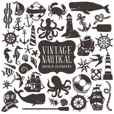 Vintage Hand Drawn Nautical Design Elements