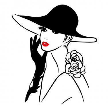 Vector Ink Line Art Lady Wearing Black Hat