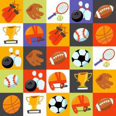 Fun Wonky Sporting Icons Tiles Background