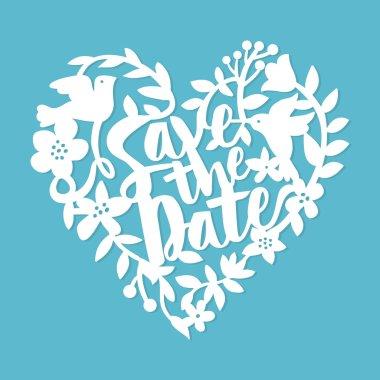 Vintage Paper Cut Save The Date Floral Heart Lace