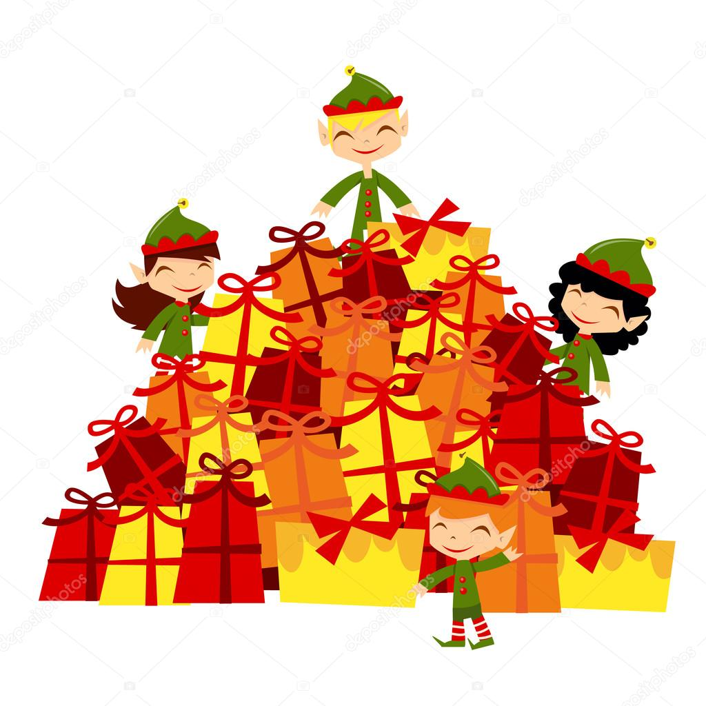 christmas santa elves gifts stack u2014 stock vector totallyjamie