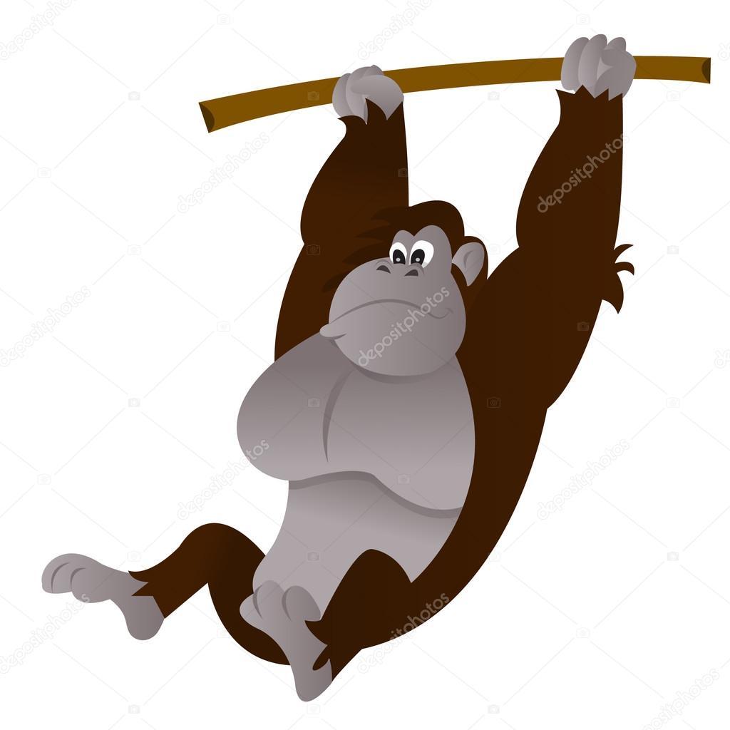 Cartoon Gorilla Swinging Tree Branch Stock Vector