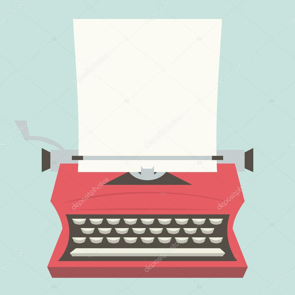 A vector illustration of a vintage typewriter with a blank paper as copy  space. — Vector de totallyjamie ade7917857d1