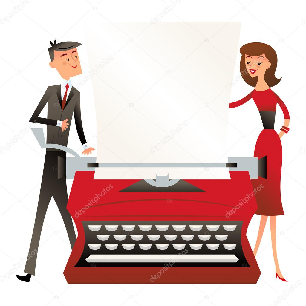 A vector illustration of a business man and woman standing behind a large  vintage typewriter in retro mid century modern style. — Vector de  totallyjamie a4d343b1283d