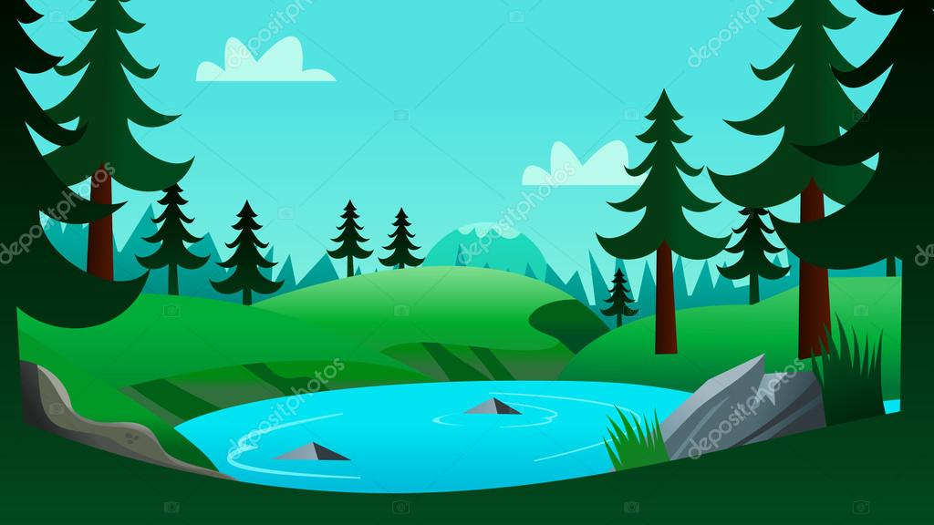 Lake And Forest Cartoon Background Scene — Stock Vector ...