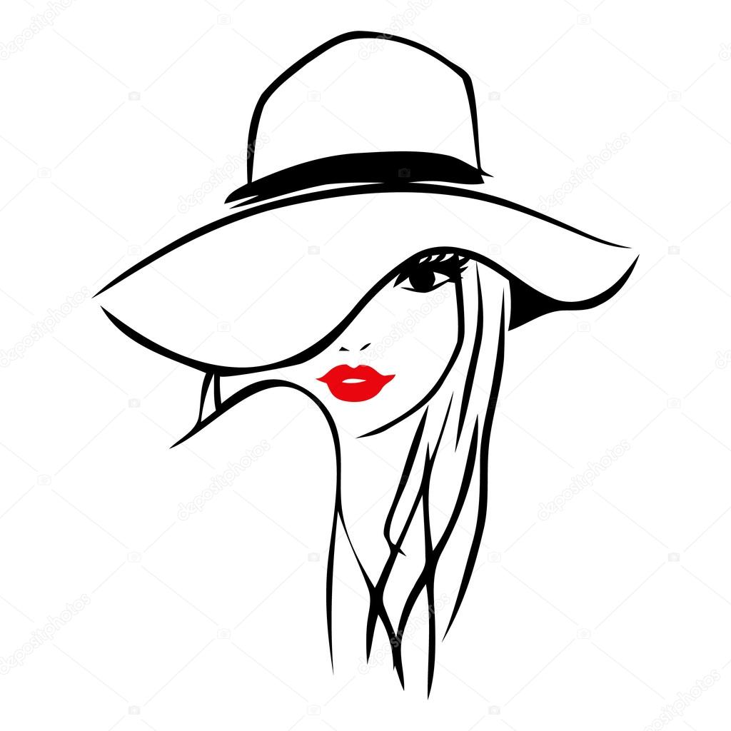 Line Drawing Lady : Vector ink line art lady wearing floppy hat — stock