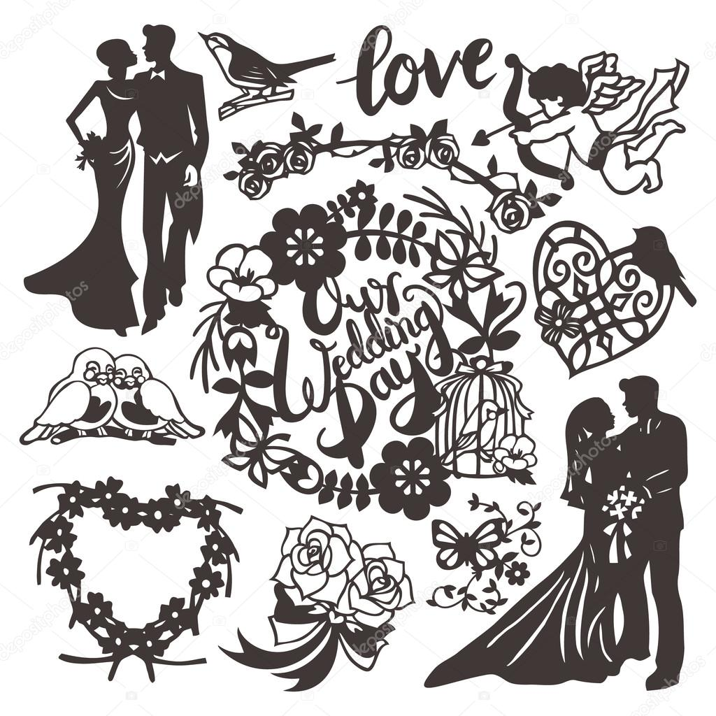 Vintage Paper Cut Wedding Silhouette Set Stock Vector