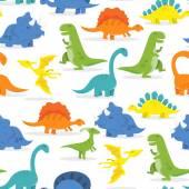 Fotografie Happy Cartoon Dinosaur Seamless Pattern Background