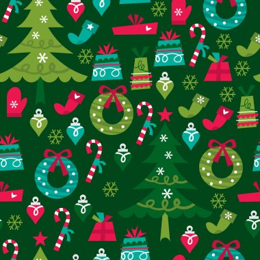 A vector illustration of whimsical retro christmas seamless pattern background. stock vector