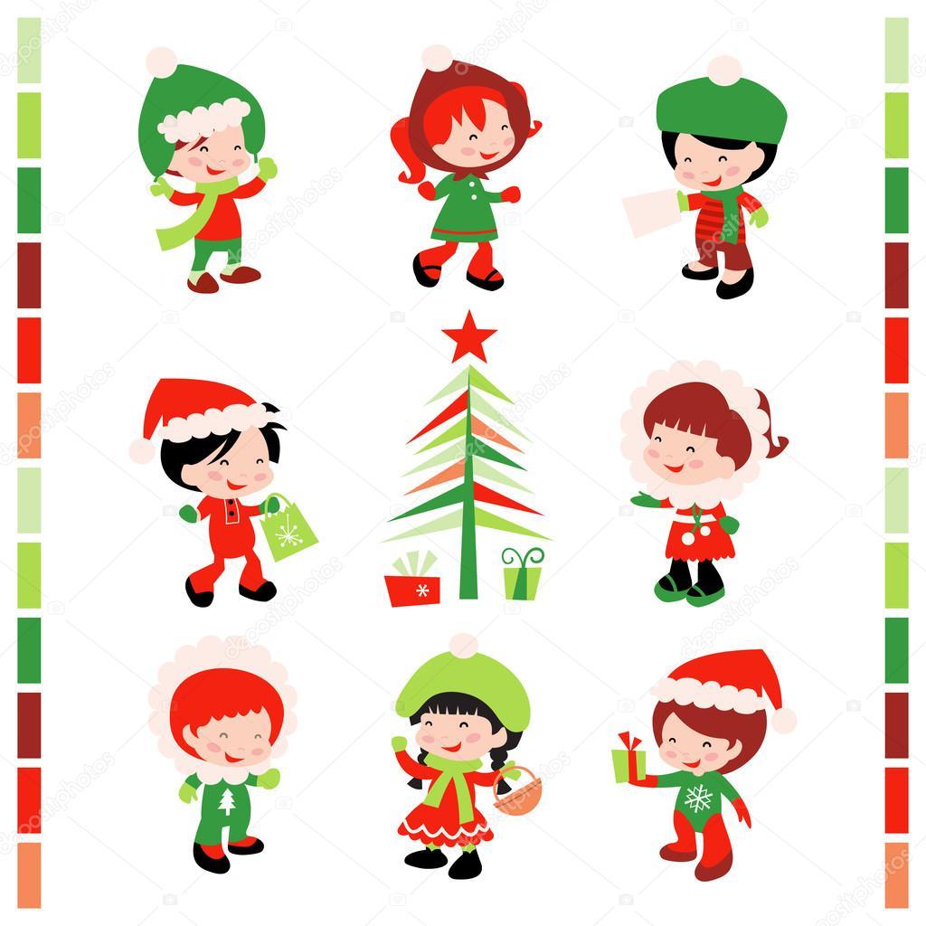 Kinder Weihnachten Winter — Stockvektor © totallyjamie #71570431