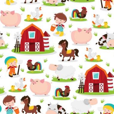 Happy Barnyard Farm Friends Seamless Pattern Background