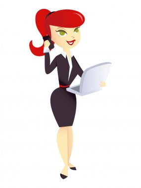 Cartoon Career Woman with laptop and cellphone
