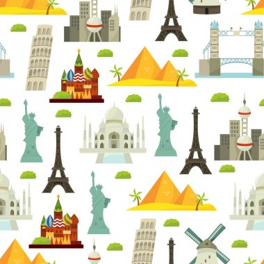 World Iconic Landmarks Seamless Pattern Background