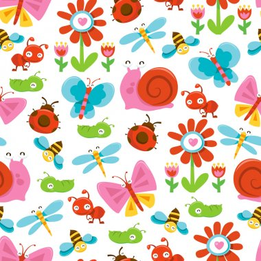 Happy Sweet Garden Bugs Seamless Pattern Background