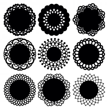 A vector illustration of nine doily lace decoration set. Ideal as decorative elements or scrapbooking projects. stock vector